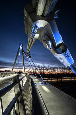 Photograph - Industrial Beauty On Ped Bridge In Chicago At Dawn  by Sven Brogren