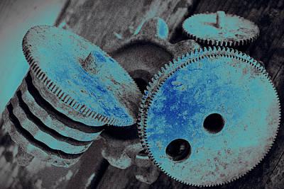 Mechanisms Mixed Media - Industrial Blues by Marnie Patchett
