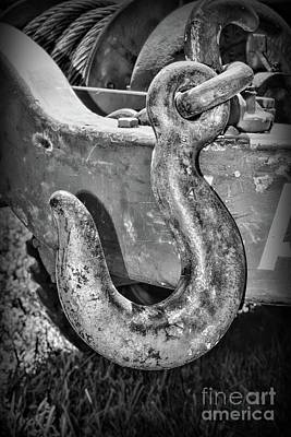 Photograph - Industrial Chain Hook Black And White by Paul Ward