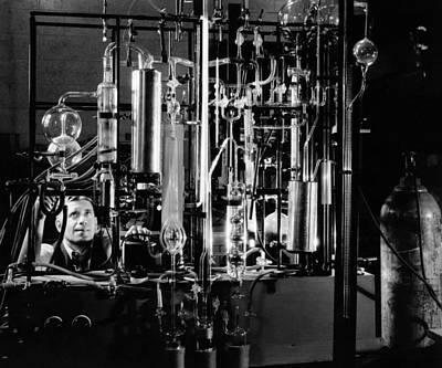 Industrial Chemist Among Glass Tubes Art Print by Everett