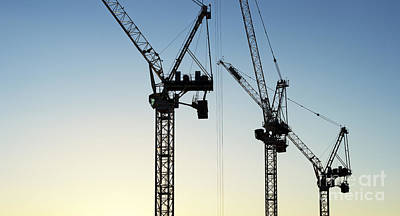 Photograph - Industrial Cranes Silhouette by Tim Gainey