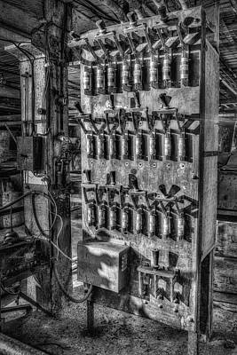 Fused Photograph - Industrial Electrical Panel IIbw by Susan Candelario