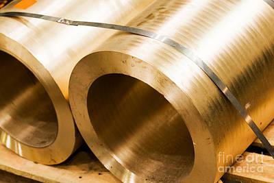 Iron Photograph - Industrial Hardened Steel Cylinders In Workshop by Michal Bednarek