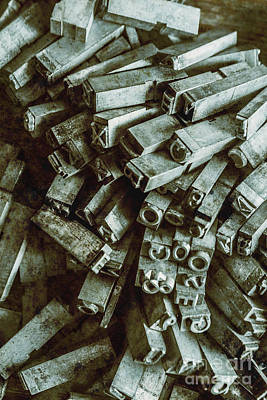 Mechanical Photograph - Industrial Letterpress Typeset  by Jorgo Photography - Wall Art Gallery