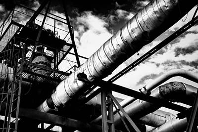 Photograph - Industrial Metal Piping In Monochrome by John Williams
