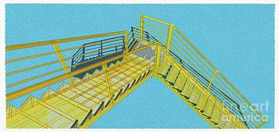 Santa Monica Drawing - Industrial Stair 29 Yellow Construction Architecture Original Sketch For Architects by Pablo Franchi