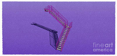Santa Monica Mixed Media - Industrial Stair 30 Purple Construction Architecture Original Sketch For Architects by Pablo Franchi