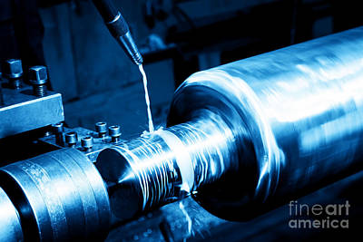 Mechanical Photograph - Industrial Turning Machine At Work Close-up by Michal Bednarek