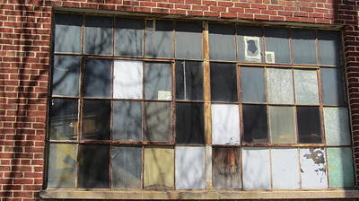 Photograph - Industrial Window And Red Brick 2 by Anita Burgermeister