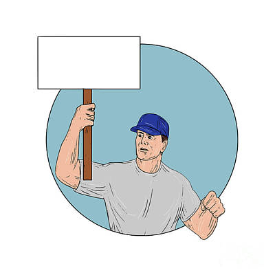 Industrial Worker Activist Placard Protesting Circle Drawing Art Print