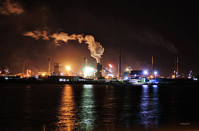 Photograph - Industry By Night Wollongong Nsw Australia by Cheryl Hall
