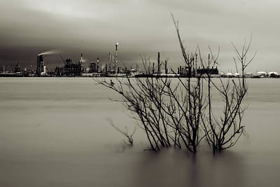 Photograph - Industry On The Mississippi River, In Monochrome by Printed Pixels