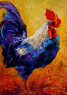 Chicken Painting - Indy - Rooster by Marion Rose