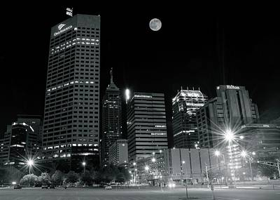 Photograph - Indy Black And White Full Moon by Frozen in Time Fine Art Photography