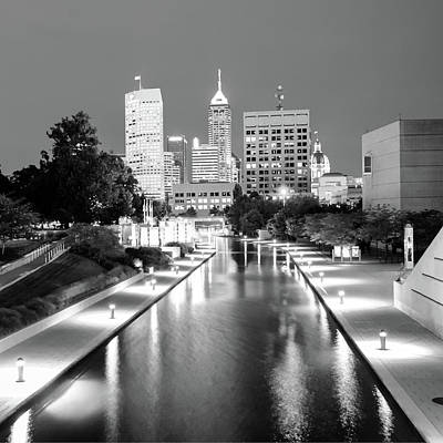 Photograph - Indy City Skyline - Indianapolis Indiana Black-white 1x1 by Gregory Ballos