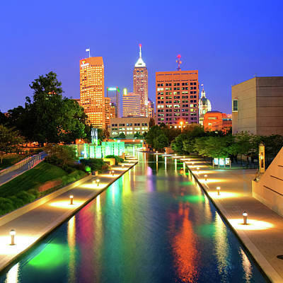 Photograph - Indy City Skyline - Indianapolis Indiana Color 1x1 by Gregory Ballos
