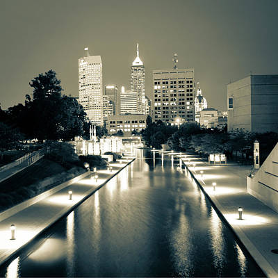 Photograph - Indy City Skyline - Indianapolis Indiana Sepia 1x1 by Gregory Ballos