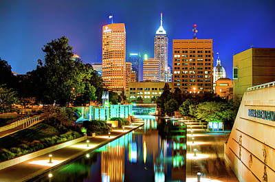 Indianapolis Photograph - Indy Of Lights - Indianapolis Downtown Skyline by Gregory Ballos