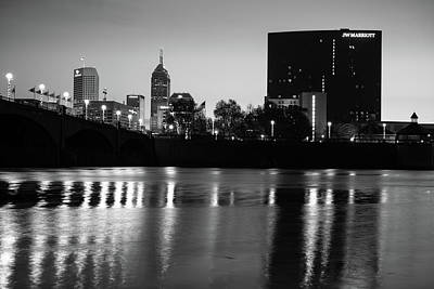 Indy Skyline Black And White Reflections - Indianapolis Indiana Art Print by Gregory Ballos