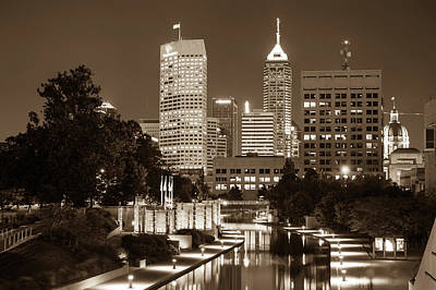 Photograph - Indy Skyline - Downtown Canal Walk View - Sepia Edition by Gregory Ballos