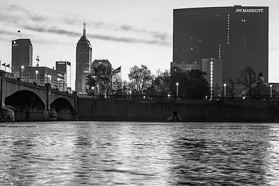 Photograph - Indy Skyline On The River - Indianapolis Morning - Black And White by Gregory Ballos