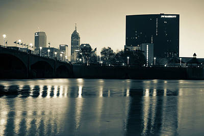 Photograph - Indy Skyline Sepia Reflections - Indianapolis Indiana by Gregory Ballos