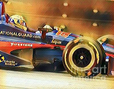 Will Power Mixed Media - Indycar Action by Douglas Sacha