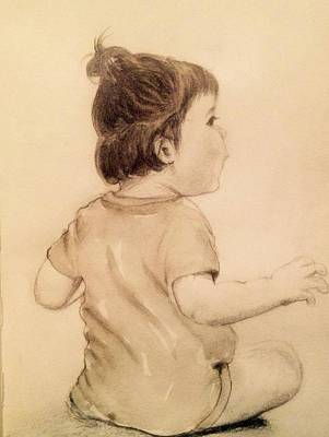 Anticipation Drawing - Infant  by Beena Khan