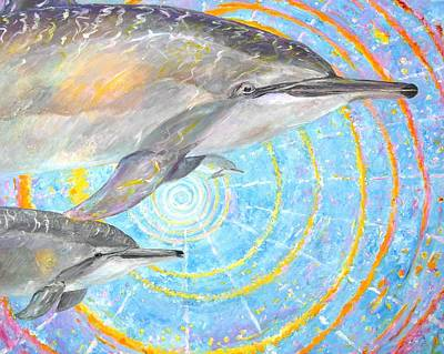 Oneness Painting - Infinite Dolphin Universe by Tamara Tavernier