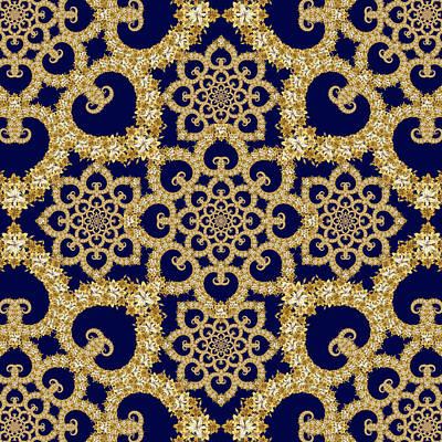 Tapestry - Textile - Infinite Lily In Navy by Deborah Runham