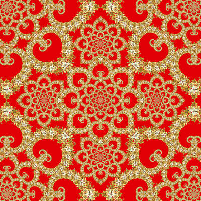 Abstract Graphics - Infinite Lily in red by Deborah Runham
