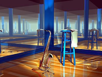 Saxaphones Digital Art - Infinite Practice by Stephen Harlan