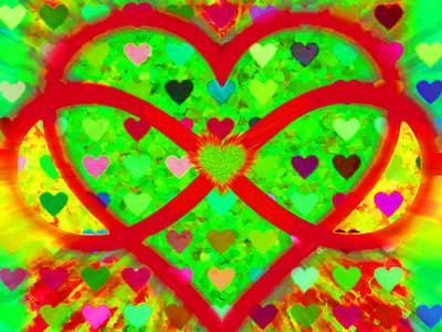 Painting - Infinity Love Heart Green by Tony Rubino