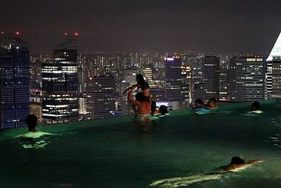 Photograph - Infinity Pool At Marina Bay Sands Hotel by Diane Height