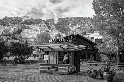 Colorado Ski Art Wall Art - Photograph - Information Booth Downtown Aspen Colorado Black And White by Gregory Ballos