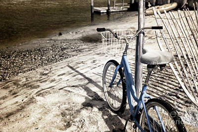 Infrared Bike On The Beach Art Print by John Rizzuto