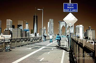Photograph - Infrared Biking The Brooklyn Bridge by John Rizzuto