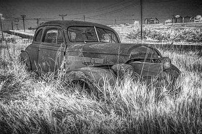 Photograph - Infrared Black And White Photo Of An Abandoned Vintage Auto by Randall Nyhof