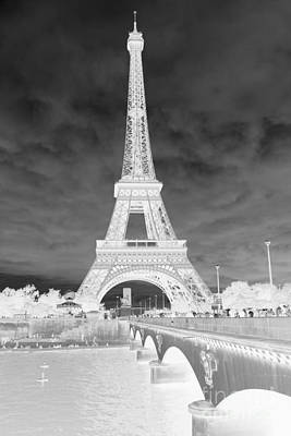Photograph - Infrared Eiffel Tower Black And White by Carol Groenen