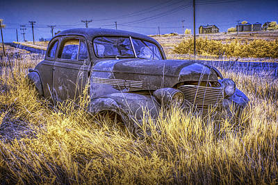 Photograph - Infrared Photo Of An Abandoned Vintage Auto In The Ghost Town By Okaton South Dakota  by Randall Nyhof