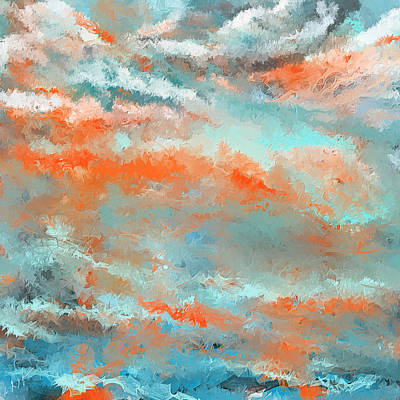 Terra Painting - Infused Energy- Turquoise And Orange Art by Lourry Legarde