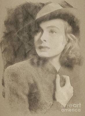 Musicians Drawings Rights Managed Images - Ingrid Bergman, Hollywood Legend by John Springfield Royalty-Free Image by John Springfield
