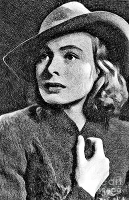 Musicians Drawings Rights Managed Images - Ingrid Bergman, Vintage Actress by JS Royalty-Free Image by Esoterica Art Agency