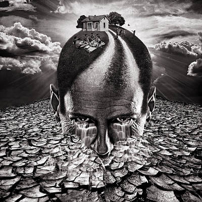 Inhabited Head Gray Scale Art Print by Marian Voicu