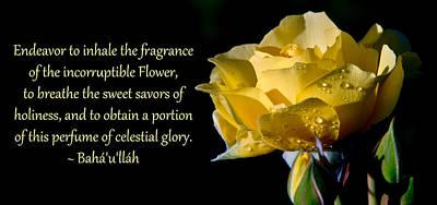 Photograph - Inhale The Fragrance by Baha'i Writings As Art