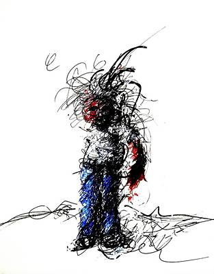 Abstracted Figuration Drawing - Injured by Steven Barrett