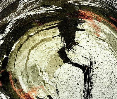 Mixed Media - Ink Abstract In Black And Copper by Peter V Quenter