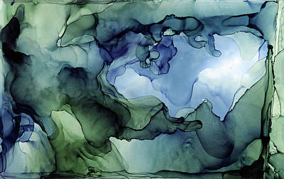 Ink Wall Art - Painting - Ink Abstract Painting Blues Greens by Olga Shvartsur