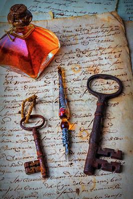 Ink Bottle And Old Keys Art Print