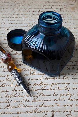 Ink Bottle On Document  Art Print